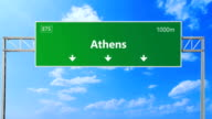 Athens road and highway sign. video