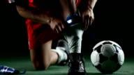 Athlete preparing to play soccer. video