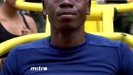 Athletic Black Man Using Exercise Machine video