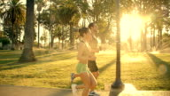 Athletic Couple Jogging Slow-Motion video