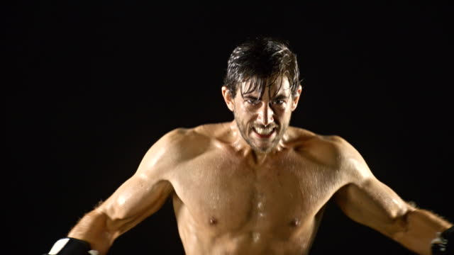 Athletic Male Boxing Slow-Motion video