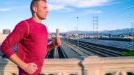 Athletic Male Jogging Los Angeles Slow-Motion video