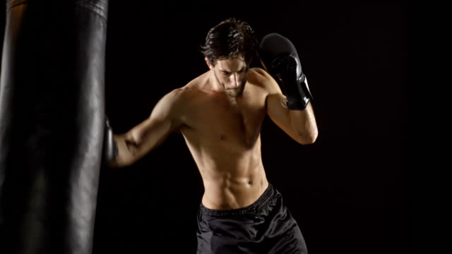 Athletic Male Workout Boxing Slow-Motion video