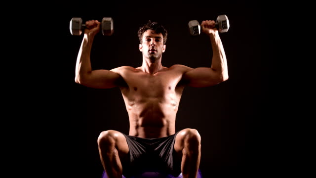 Athletic Male Workout Dumbbells video