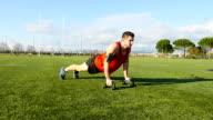 Athletic man doing Push ups. video