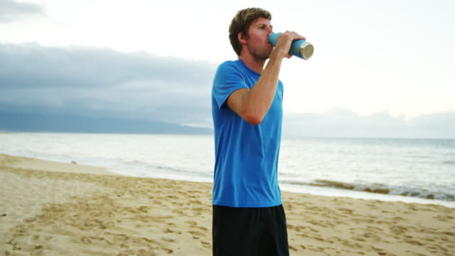 Athletic Man Drinking Sports Drink video