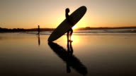 SLOW MOTION: Athletic young female standing on sandy beach, holding longboard video