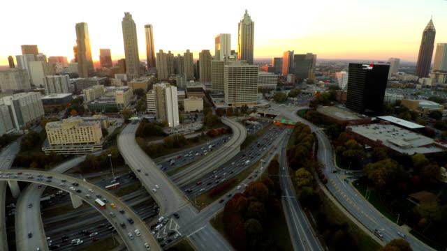 Atlanta Aerial Cityscape Freeway video
