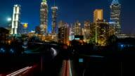 Atlanta City Skyline Time Lapse At Night video