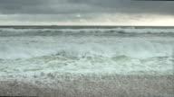 Atlantic Ocean Waves Rolling Onto Stony Beach video