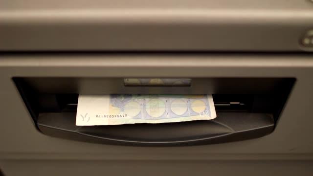 Atm machine hand taking Euro video