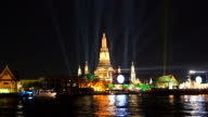 Atmosphere Wat Arun in night, bangkok,thailand video