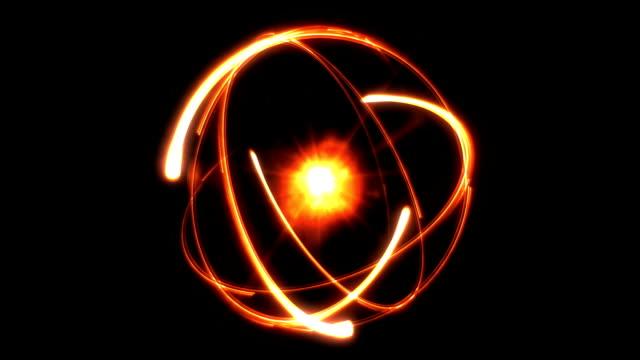 Atom abstract background orange video