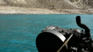 Attabad Lake and boat engine in Pakistan. video