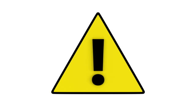 Attention sign with exclamation mark rotates. video