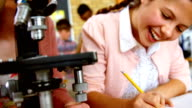 Attentive students looking through microscope in laboratory video