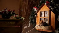 Attic on roof of house decorated for Christmas video