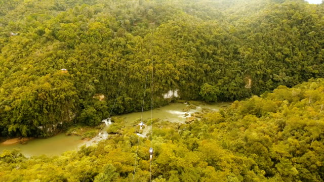 Attraction zipline in the jungle on the island of Bohol, Philippines video