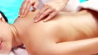 Attractive brunette having massage video