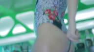 Attractive brunette performing hot dance on bar counter video