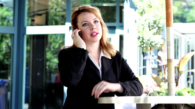 Attractive businesswoman talking on cellphone video