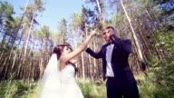 Attractive couple having fun dancing, signing, kidding video