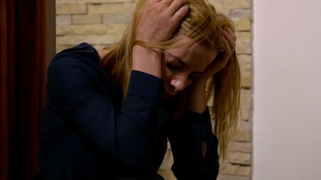 Attractive depressed sad unhappy woman video