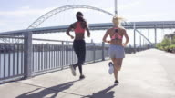 Attractive female runners in the city along the waterfront video
