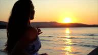 Attractive Female Sunset Running Ocean Pier Water Beach HD video