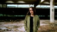 Attractive girl in industrial area video