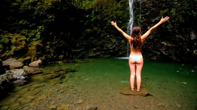 Attractive Girl Under Waterfall video