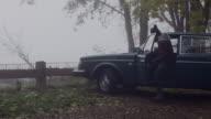 Attractive man gets into vintage car video