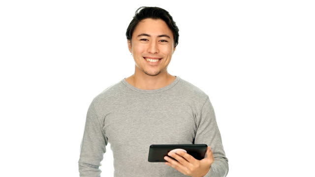 Attractive man with digital reader video