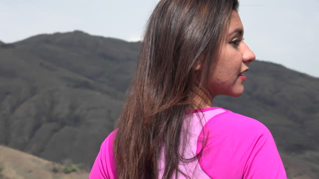 Attractive Woman In Mountains video