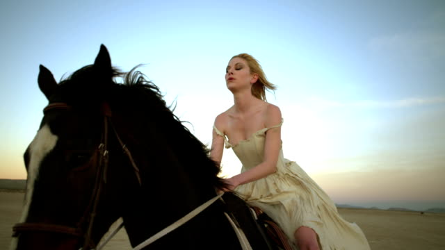 (Slow Motion) Attractive Woman Riding Horse 01 video