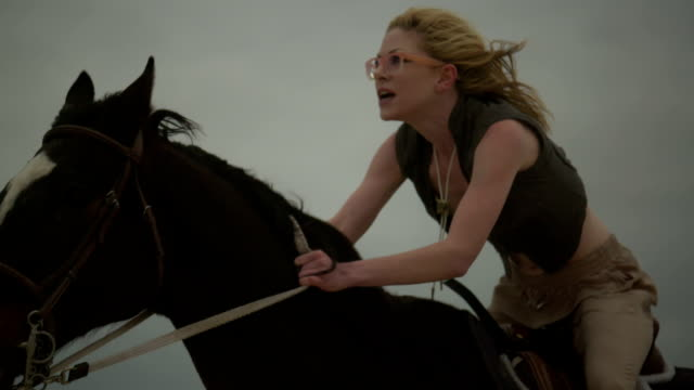 (Slow Motion) Attractive Woman Riding Horse 08 video