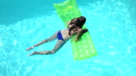 Attractive woman swimming in pool video