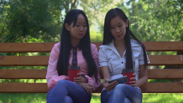 Attractive women spend free time at the open air video