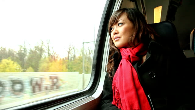 HD: Attractive Young Asian Woman on Passenger Train video
