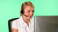 HD: Attractive Young Customer Service Operator on Green Screen video