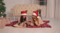 Attractive young female celebration new year indoor video