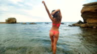 Attractive young model in red bathing suit walking on water in a desert beautiful beach video