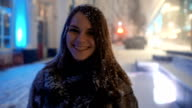Attractive Young Woman, Snow Flakes At Camera video