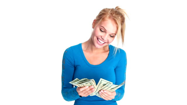 Attractive Young Woman with Money video