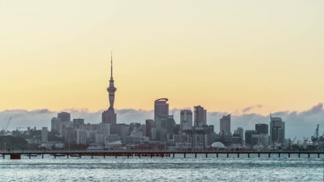 Auckland Skyline at sunset (time lapse) video