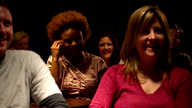 Audience applauses for comedian video