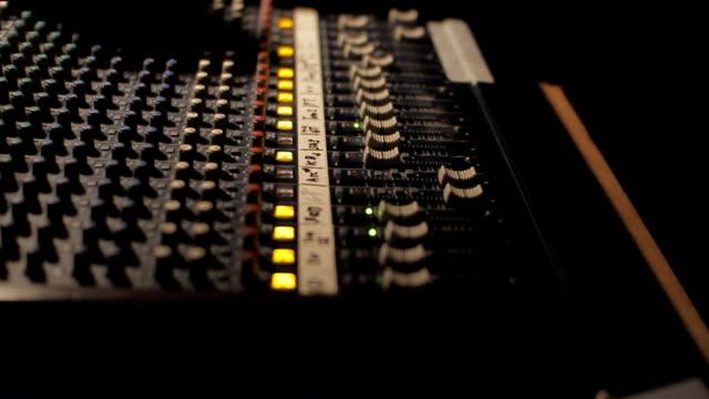 Audio mixer control panel. video