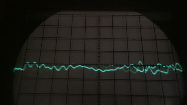Audio signal on oscilloscope screen video