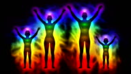 Aura and chakras - silhouette of family video