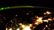 Aurora, Cities and Lakes from Space video